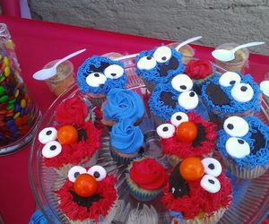 cookie monster, cupcakes, and elmo image