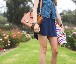 dress, style, and denim vest image