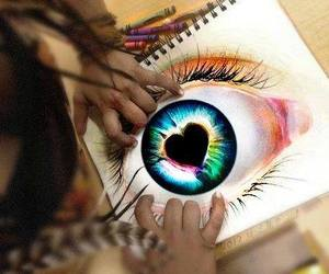 eye, heart, and colors image