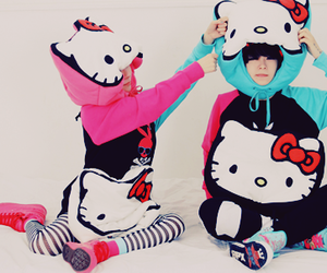 cute, hello kitty, and couple image