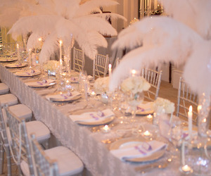 feather, silver, and wedding image