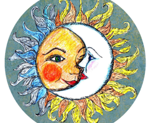 drawing, moon, and sun image