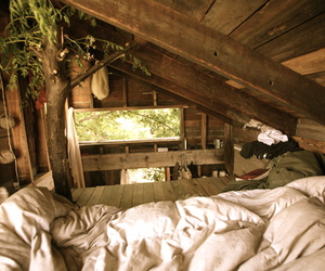 bed, tree, and tree house image