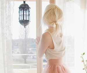 blond, girl, and skirt image