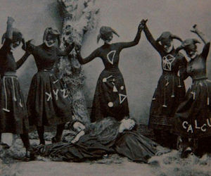 witch, black and white, and ritual image