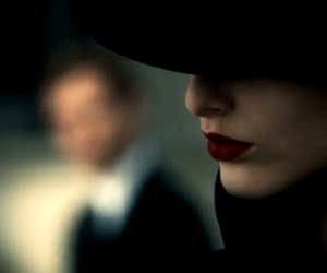 hat, red lips, and woman image