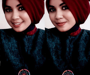 green, hijab, and red image