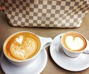 coffee, cappuccino, and heart image