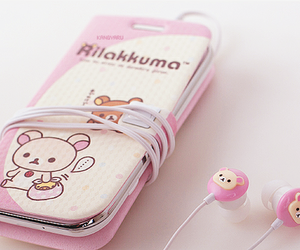 bear, earphone, and cell phone image