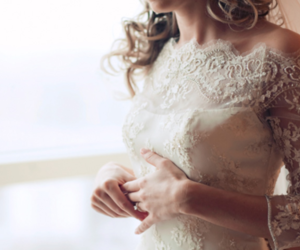 bride, lace, and white dress image