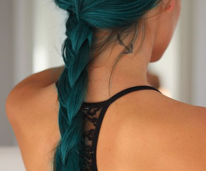 anchor tattoo, green hair, and lace bra image