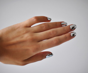 nails, silver, and hand image
