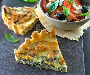 food, pie, and vegetables image