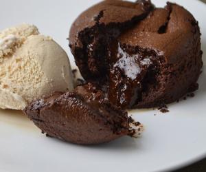 cake, chocolate, and lava cake image