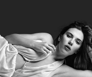 black and white, brunette, and Scarlett Johansson image