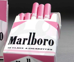 pink, cigarette, and marlboro image