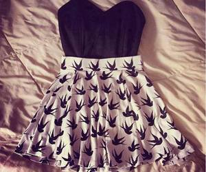 birds, outfit, and skirt image