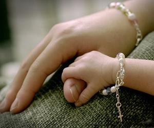 little girl, bracelet, and mother image