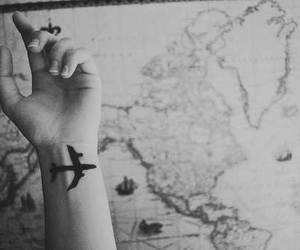 airplane, black and white, and photography image