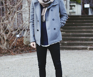 burberry scarf, acne jeans, and cos jacket image