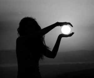 girl, moon, and silhouette image