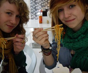 food, girls, and noodles image