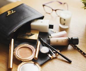 makeup, bag, and cosmetics image