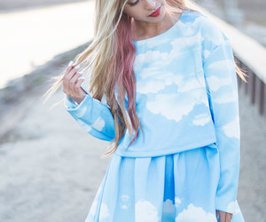 blue, cloud, and skirt image