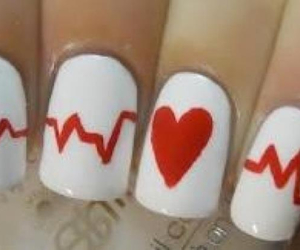 heart, white, and long nails image