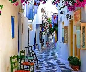 Greece, flowers, and place image