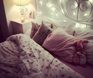 bed, fairy lights, and luxury image