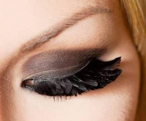 make up, feather, and eyes image
