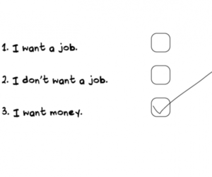 money, job, and text image