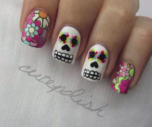 nails, skull, and nail art image