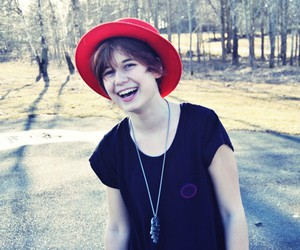 girl, hat, and laughing image