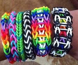 colorful, rainbow, and loom bracelets image