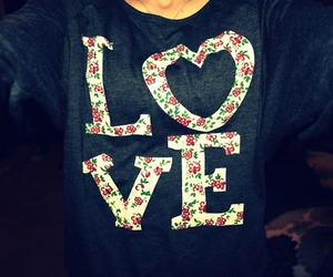 love, flowers, and shirt image