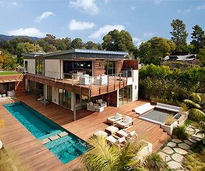 backyard, pool, and water image