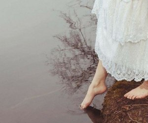 water, feet, and dress image