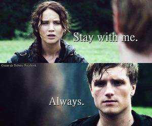 peeta, katniss, and hunger games image