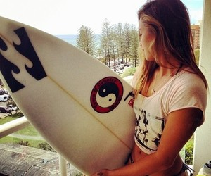 beautiful, girl, and surf image