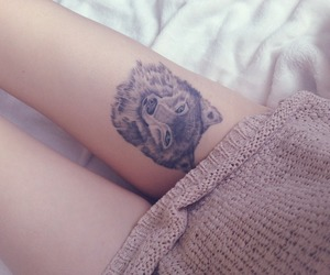 tattoo, wolf, and leg image