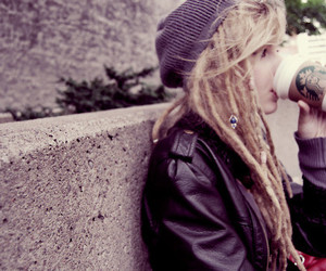 beanie, blonde, and dreads image