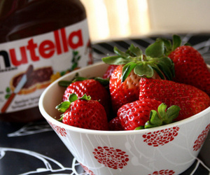 strawberry, nutella, and food image