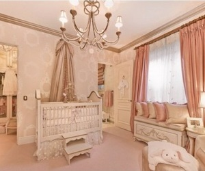 bedroom, baby girl nursery, and nursery image