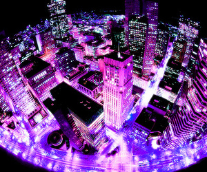 city, light, and pink image