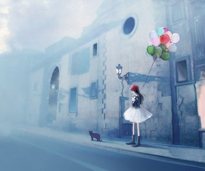balloon, girl, and paint image