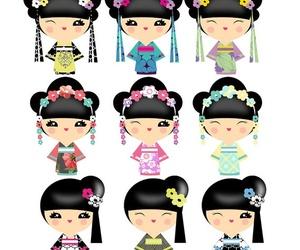 headpiece, kimono, and kokeshi image
