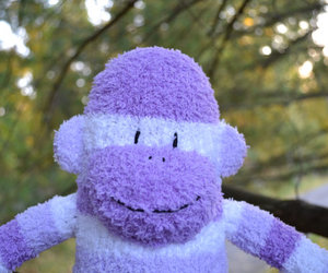 sockmonkey, purple sock monkey, and sock monkey plush image