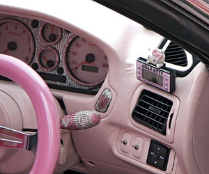 car, pink, and hello kitty image